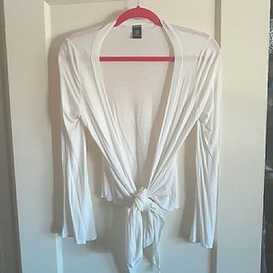 White wrap tie top